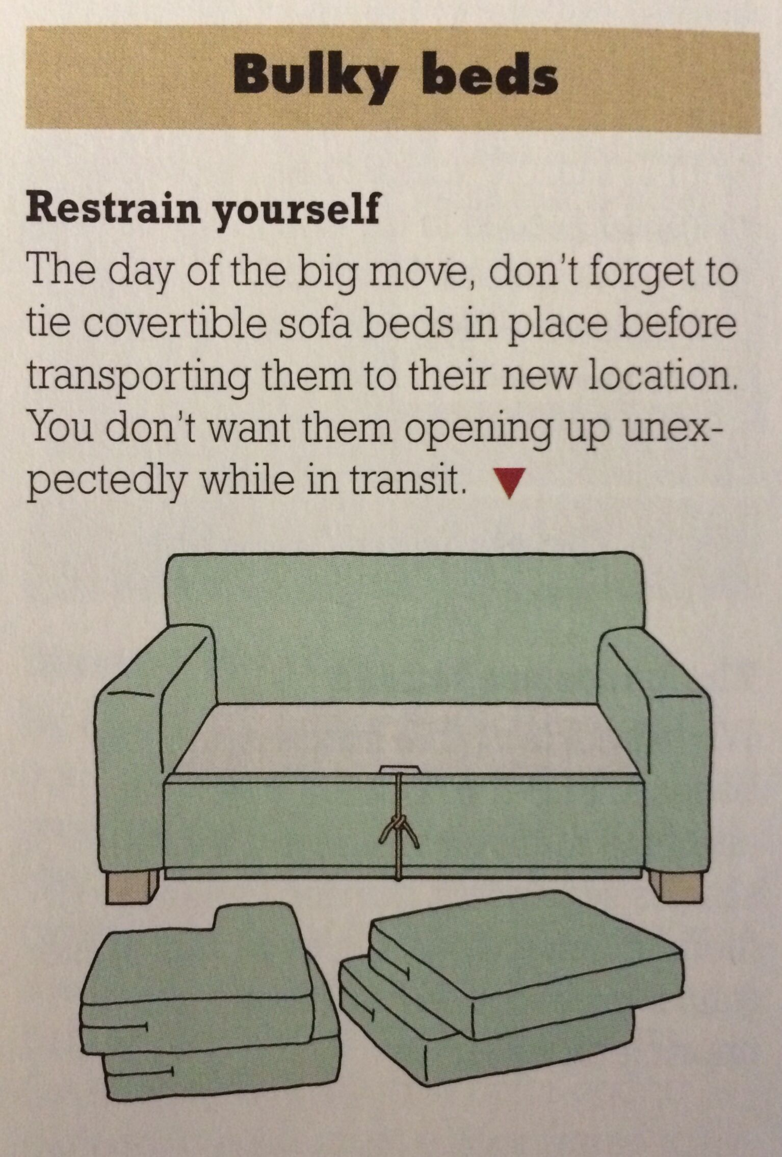 Moving Tip Tie Down Sofa Bed Re Pinned By Www Sodacitymovers Com Moving Tips Moving Packing Tips