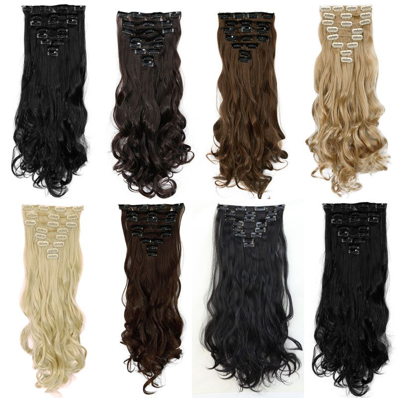 20 Inches 7 Piece Set Full Head Clip In Thick Hair Extensions 18