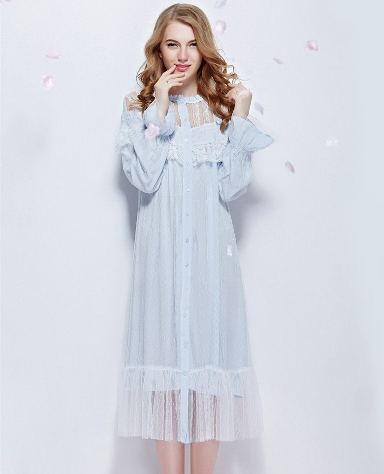 a70ec11eb3 Find More Information about Nightgown Lace Bathrobe Round Neck long sleeve  Sleepwear Queen Sleeping Dress Stargirl's Bedgown Ankle Length sleep  wearing ...