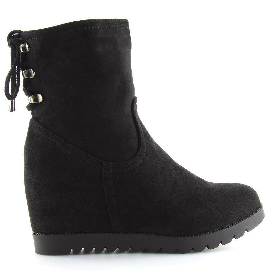 Botki Na Koturnie Czarne Zh727 Black Biker Boot Shoes Wedge Boot