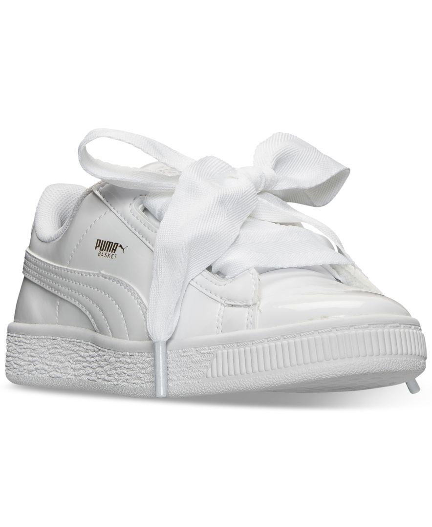 puma little girls' basket heart patent casual sneakers