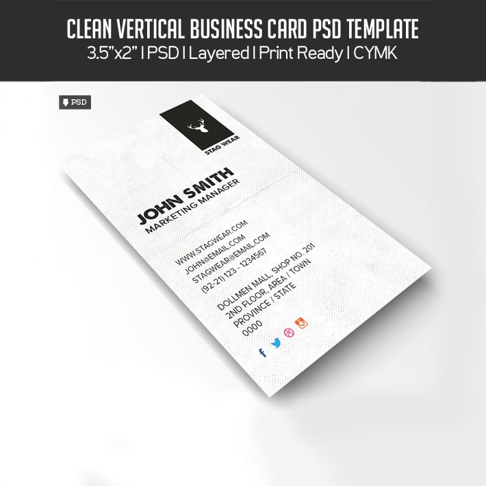 Download Free Stylish Vertical Business Card PSD Template Misc - Business card photoshop template