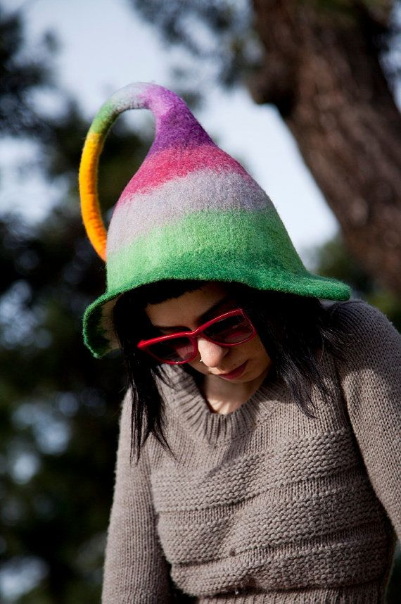 Unique handmade felt hats fairy hat by Feltthink on Etsy