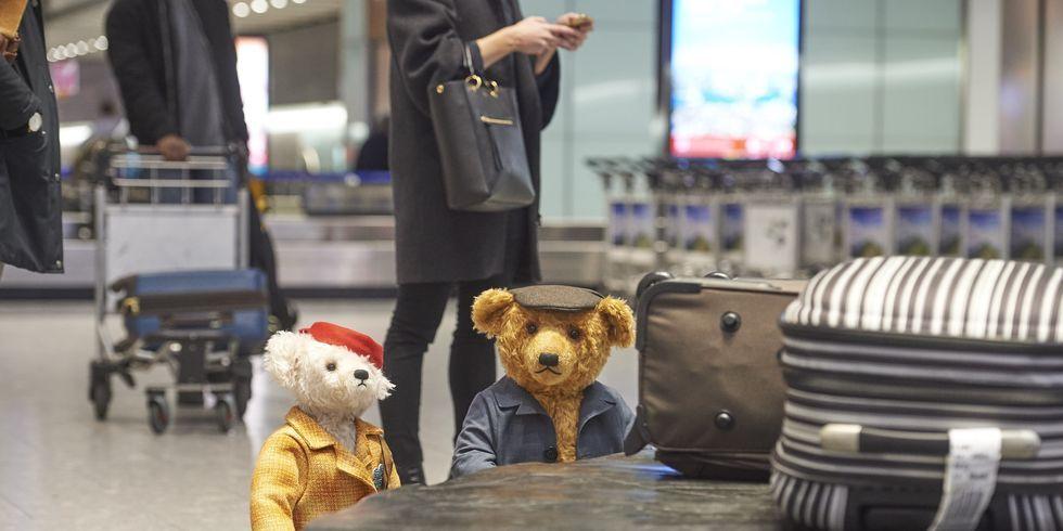 Heathrow Airport Christmas bears Doris and Edward Bair have come