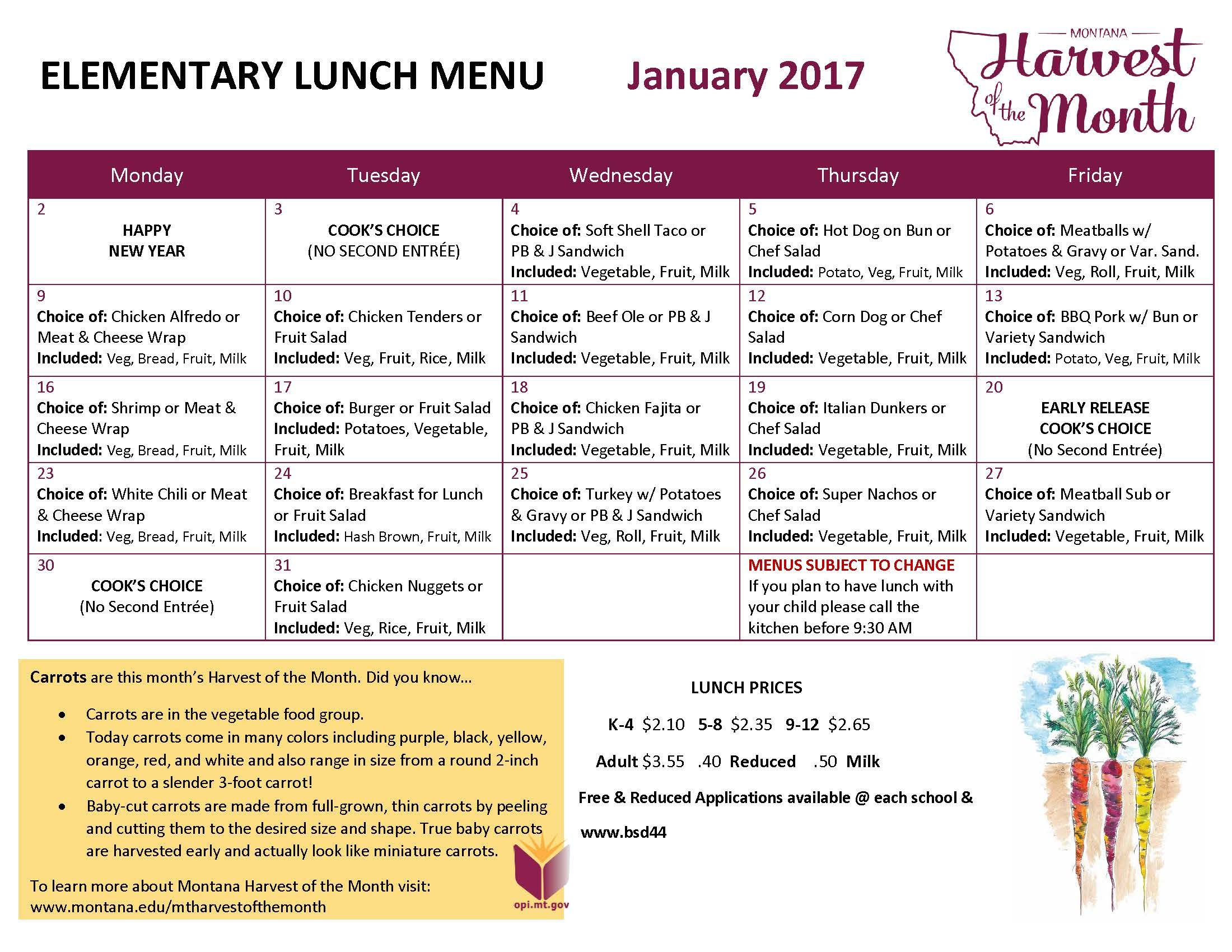 January 2017 Elementary Lunch Menu School Lunch Menu Lunch Menu