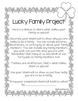 Free Lucky To Be A Family Shamrock Project St Patrick Day