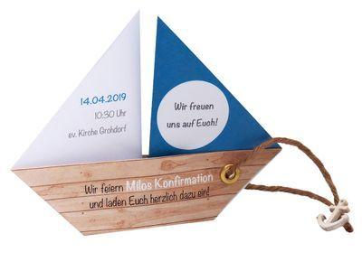 Einladungskarte Kommunion Konfirmation Taufe Boot Schiff Petrol Umschlag Braun Weiß
