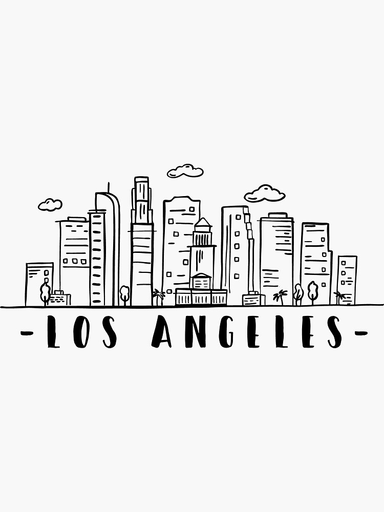 Los Angeles Skyline Travel Sticker By Duxdesign In 2021 City Drawing Los Angeles Skyline Travel Stickers