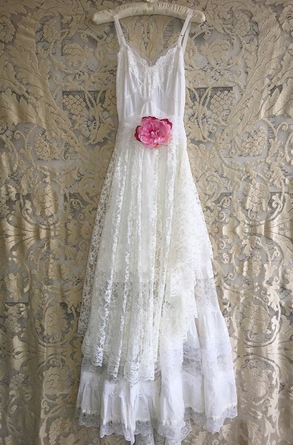 white cotton & lace tiered boho wedding dress by Mermaid Miss ...