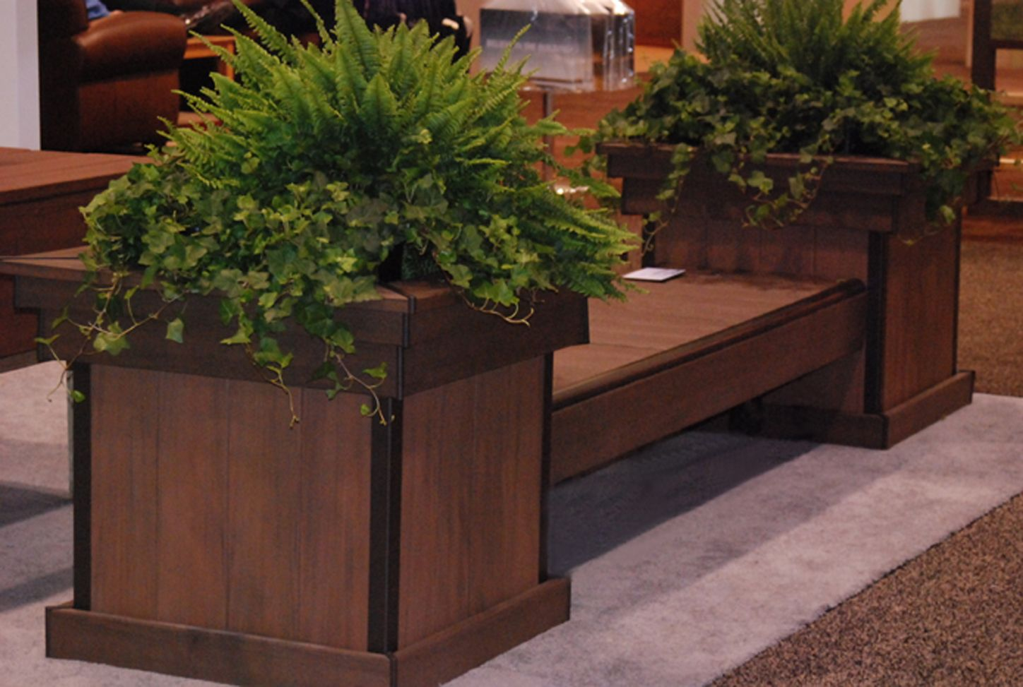 Wooden decks build a deck bench with planter boxes for Deck garden box designs
