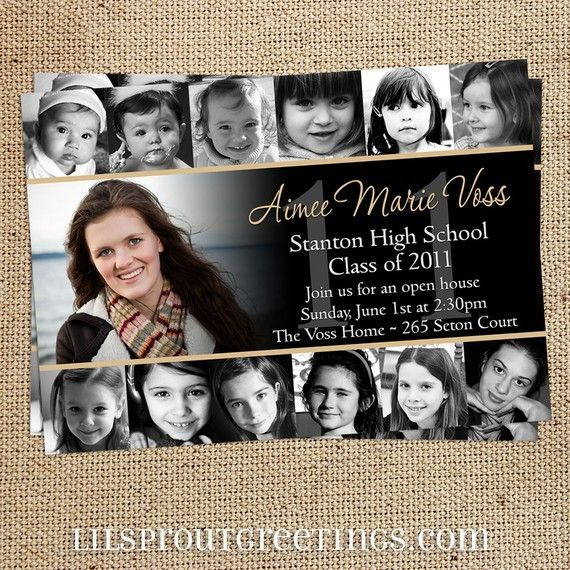 Collage style graduation announcement invitation print your own collage style graduation announcement by lilsproutgreetings 2000 filmwisefo Choice Image
