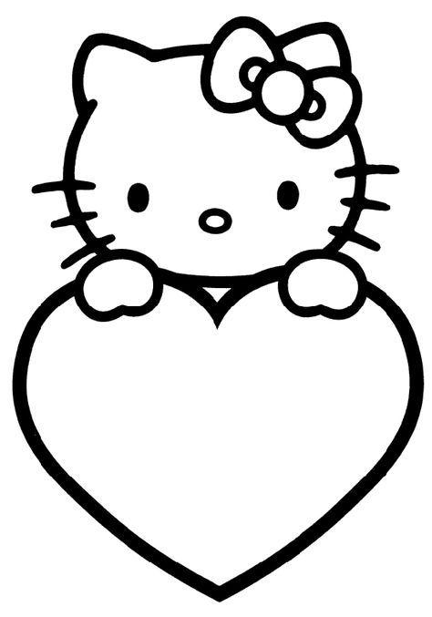 HELLO KITTY CORAZON DIBUJOS PARA COLOREAR para niños | Libros De ...