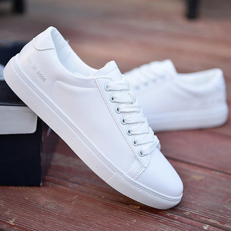 Hommes Casual Chaussures Blanc Solide Peu Profonde Sneakers Pour