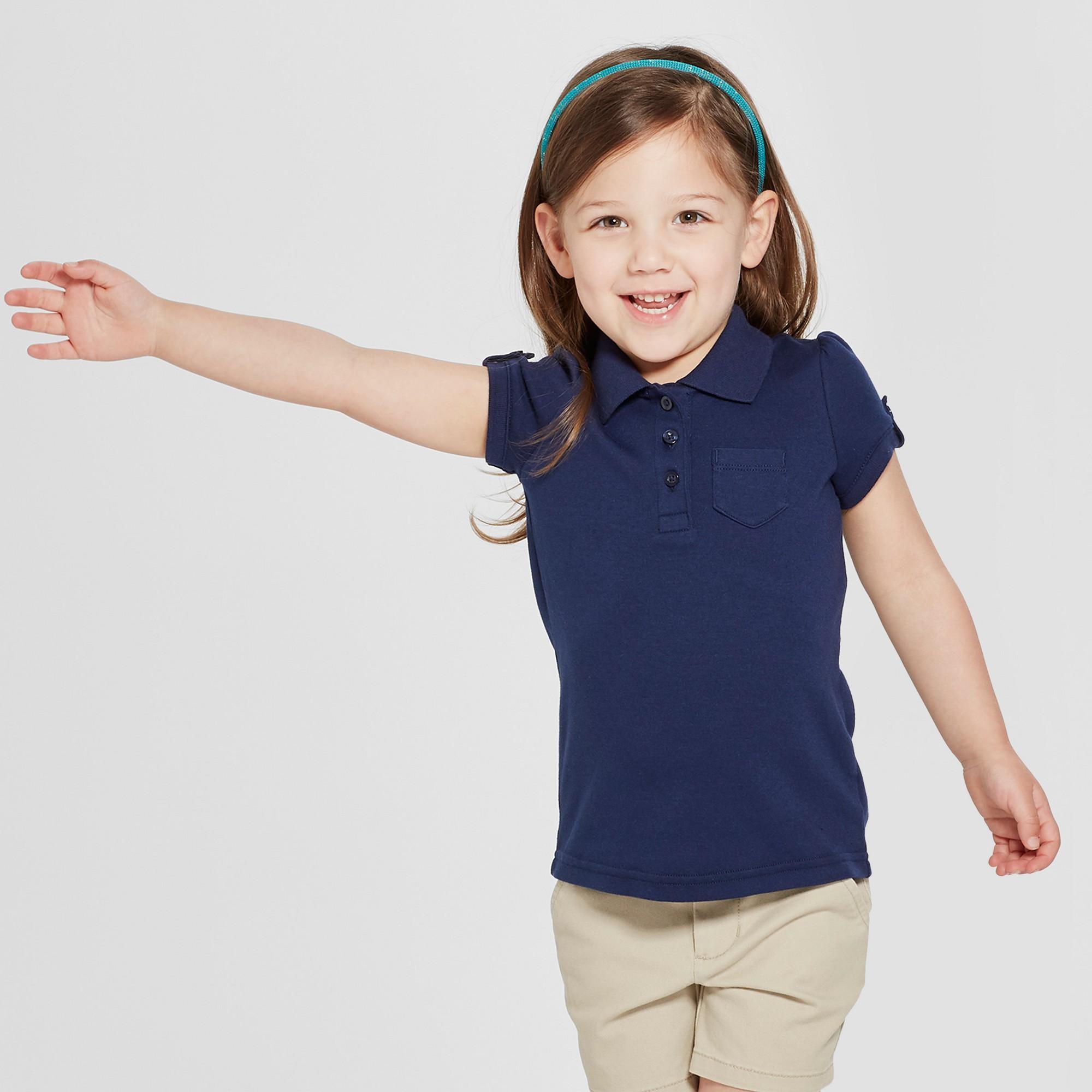 9698e2d910d Toddler Girls  Short Sleeve Interlock Uniform Polo Shirt - Cat   Jack Navy ( Blue) 3T
