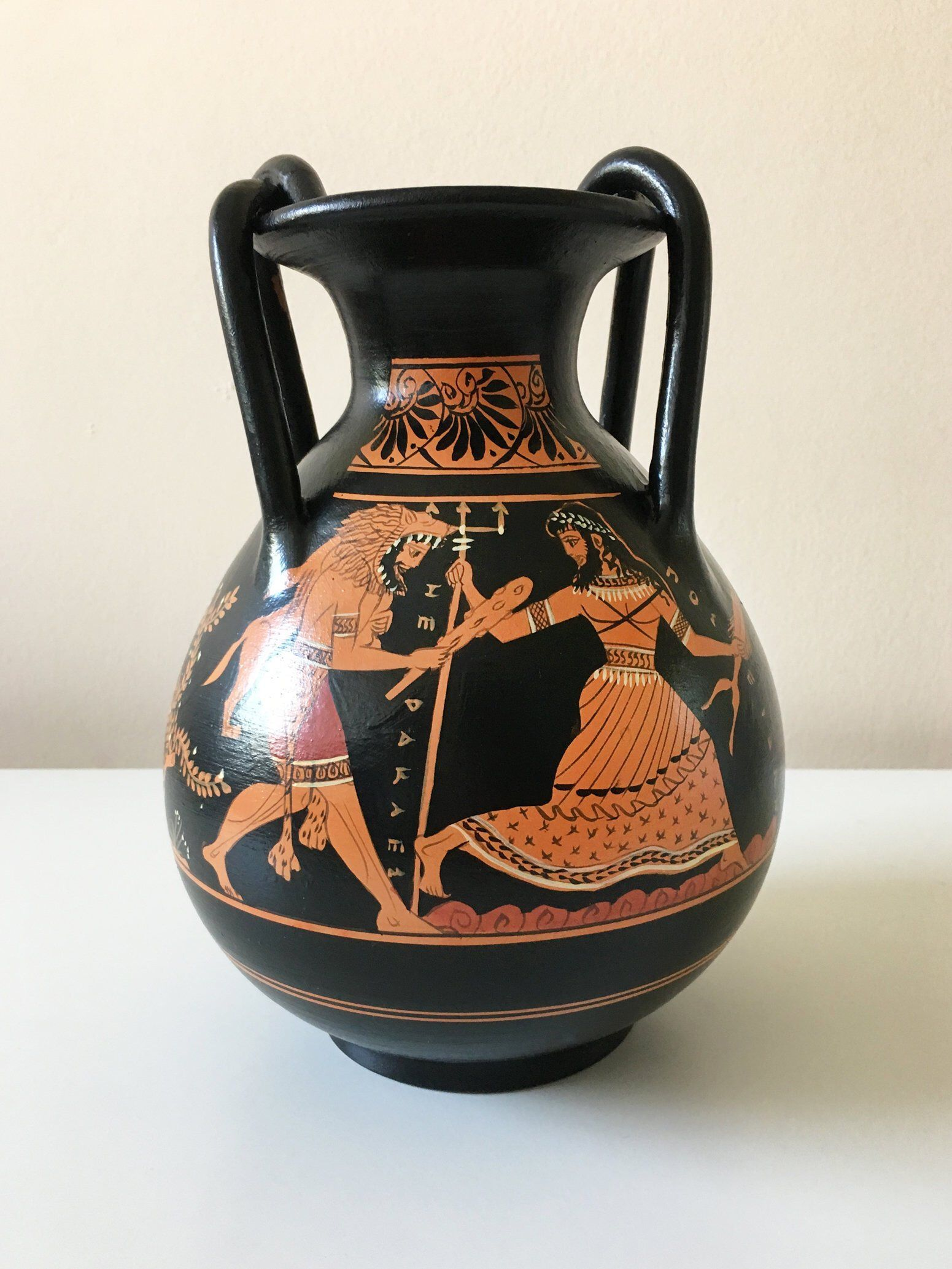 Greek Pottery Replica Red Figure Vase With Hercules And Etsy Greek Pottery Ancient Greek Pottery Greek Vases