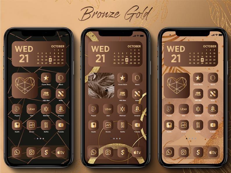 Iphone IOS 14 App Icons, 120 Luxury Bronze Gold Ic