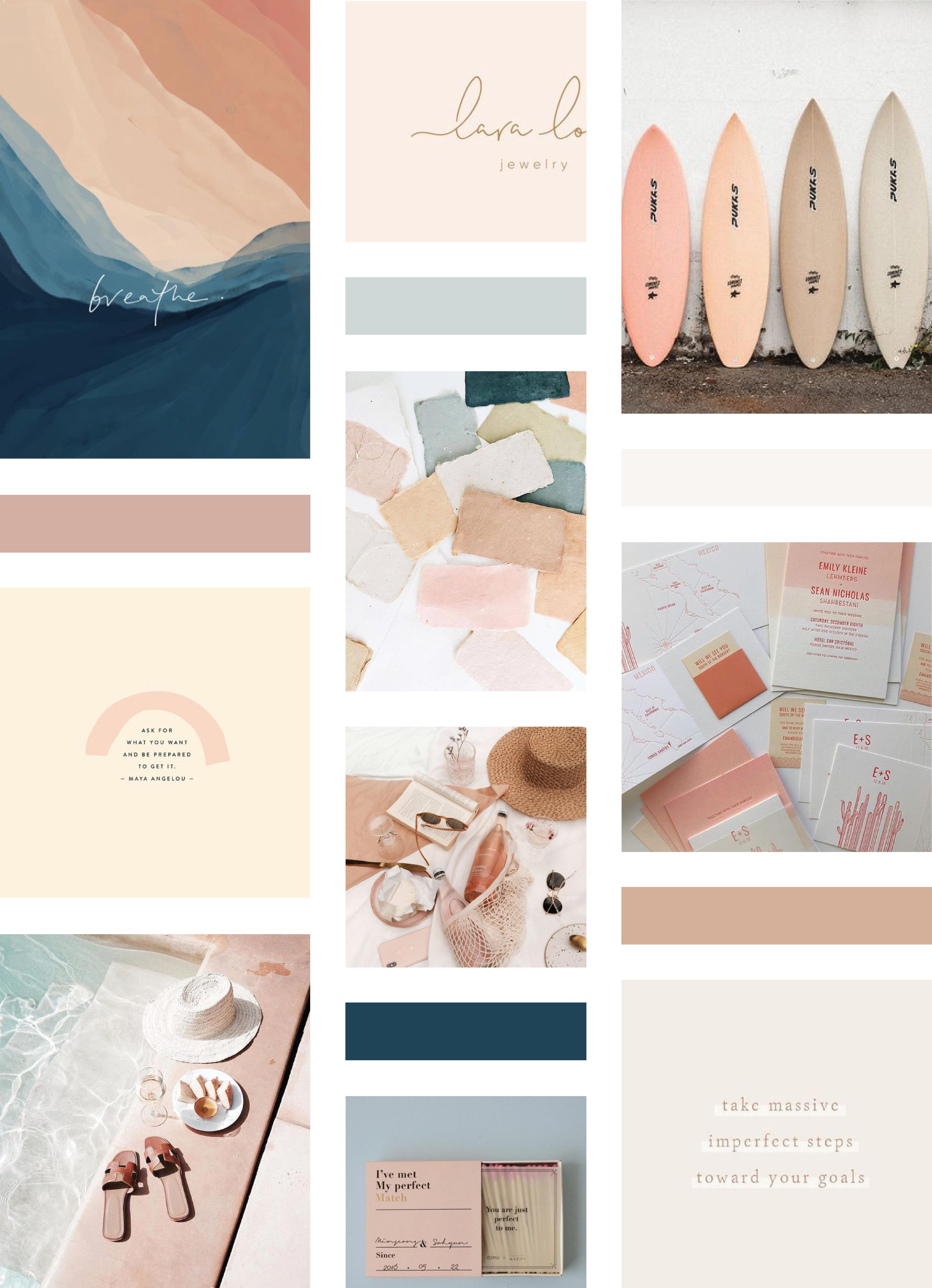 A Branding Web Design Studio Showit Designer Beachy Summer Moodboard F In 2020 Branding Mood Board Inspiration Photography Branding Branding Design Inspiration