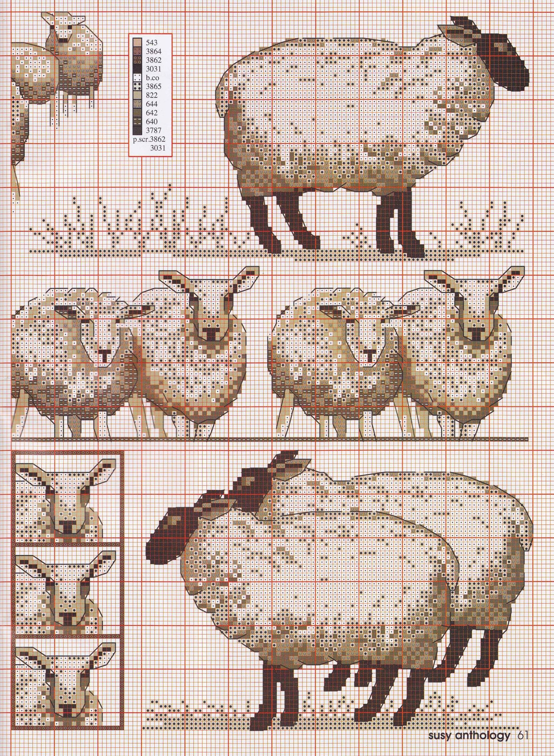 2 Embroidery Farm Animals Design In