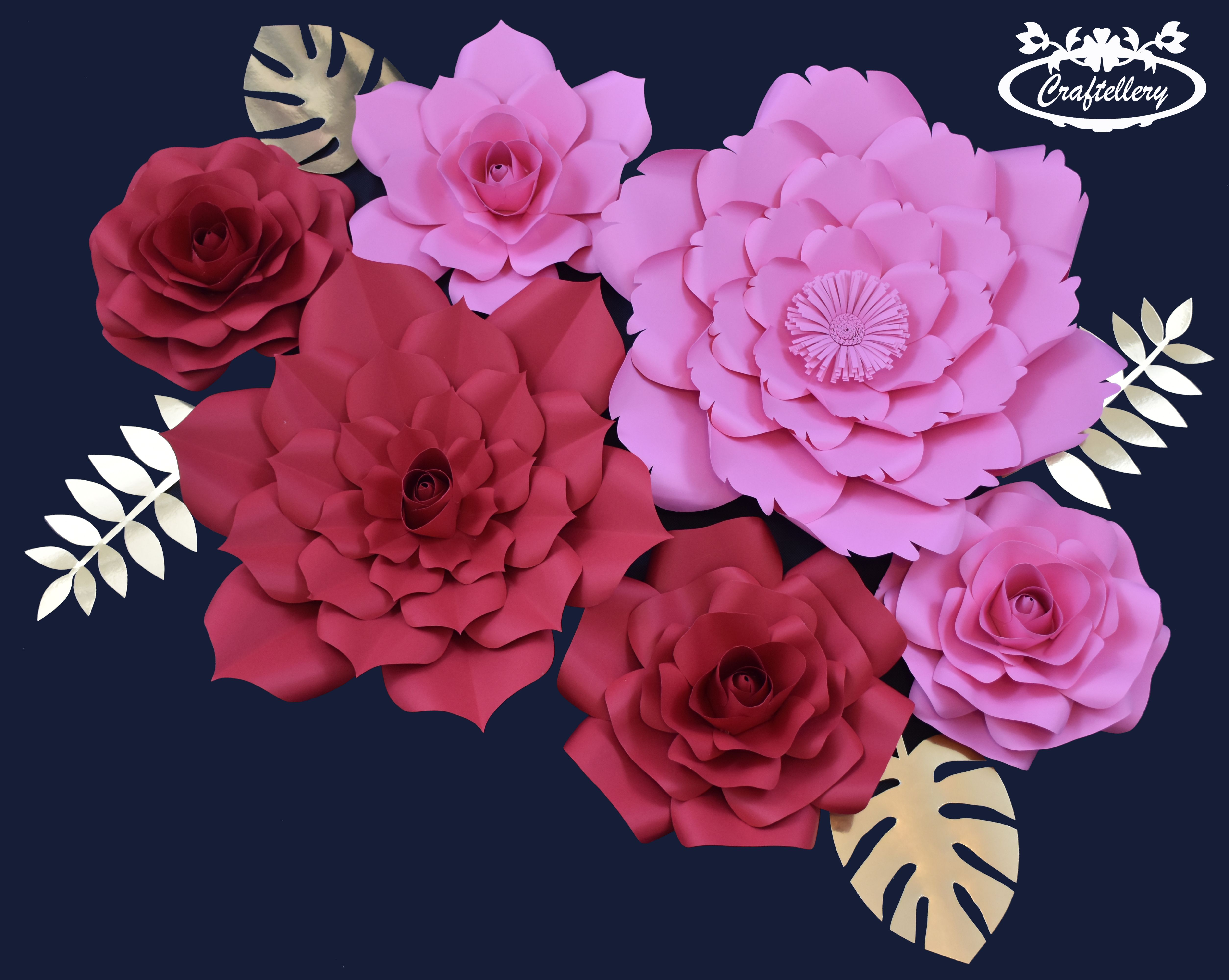 Combination of Red and Pink paper flower backdrop  Handmade Paper