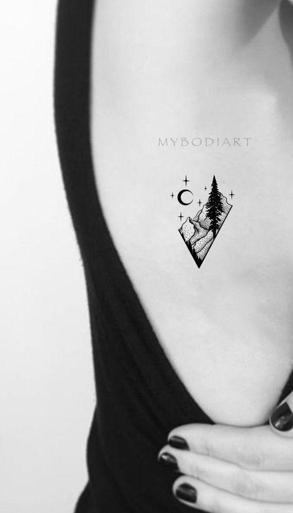 Photo of Cool Black Nature Rib Tattoo Ideas For Women Diamond Mountain Tree Moon Tat – …