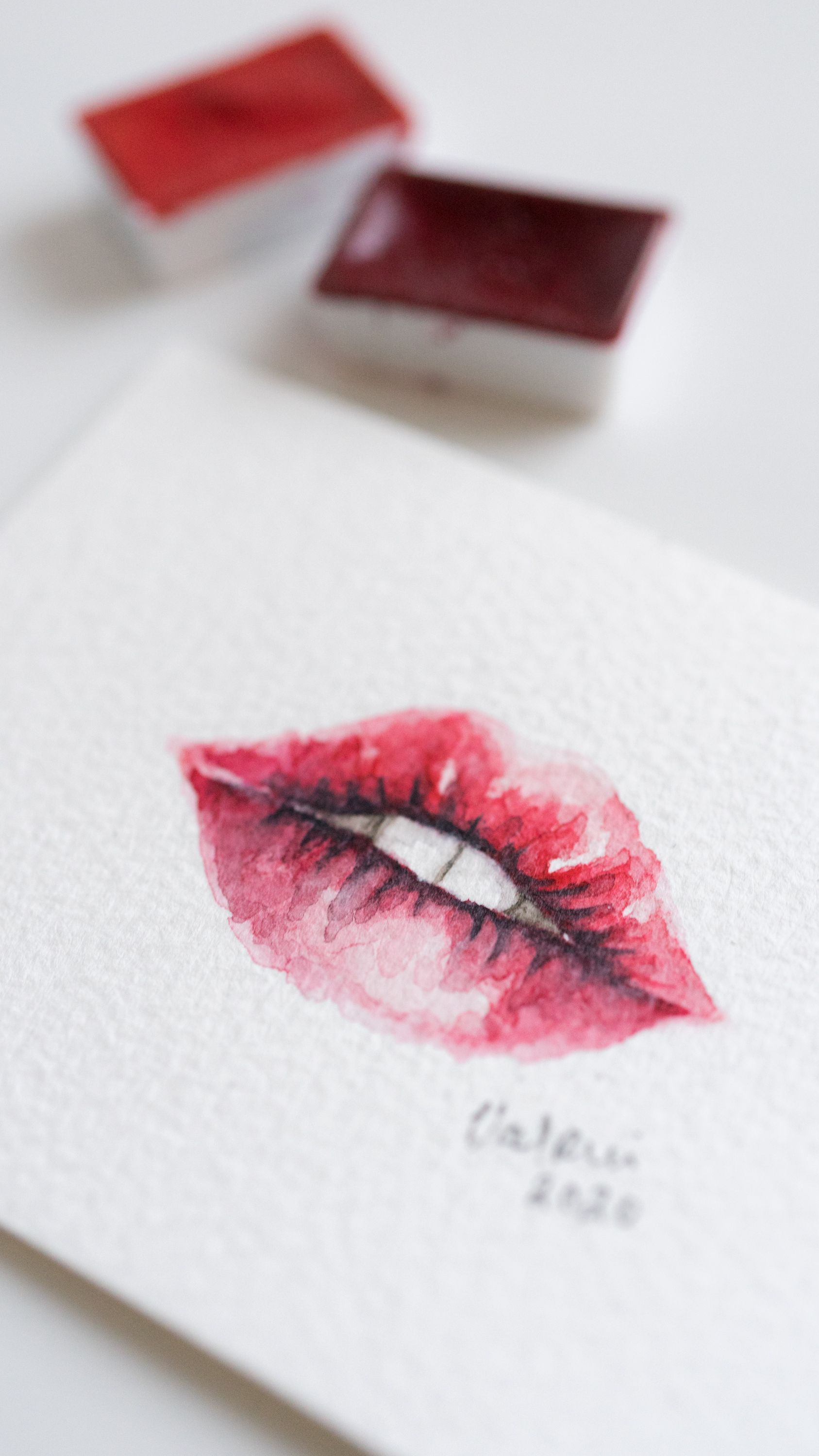 Hot Red Lips Watercolour Painting Unique Aquarelle Small