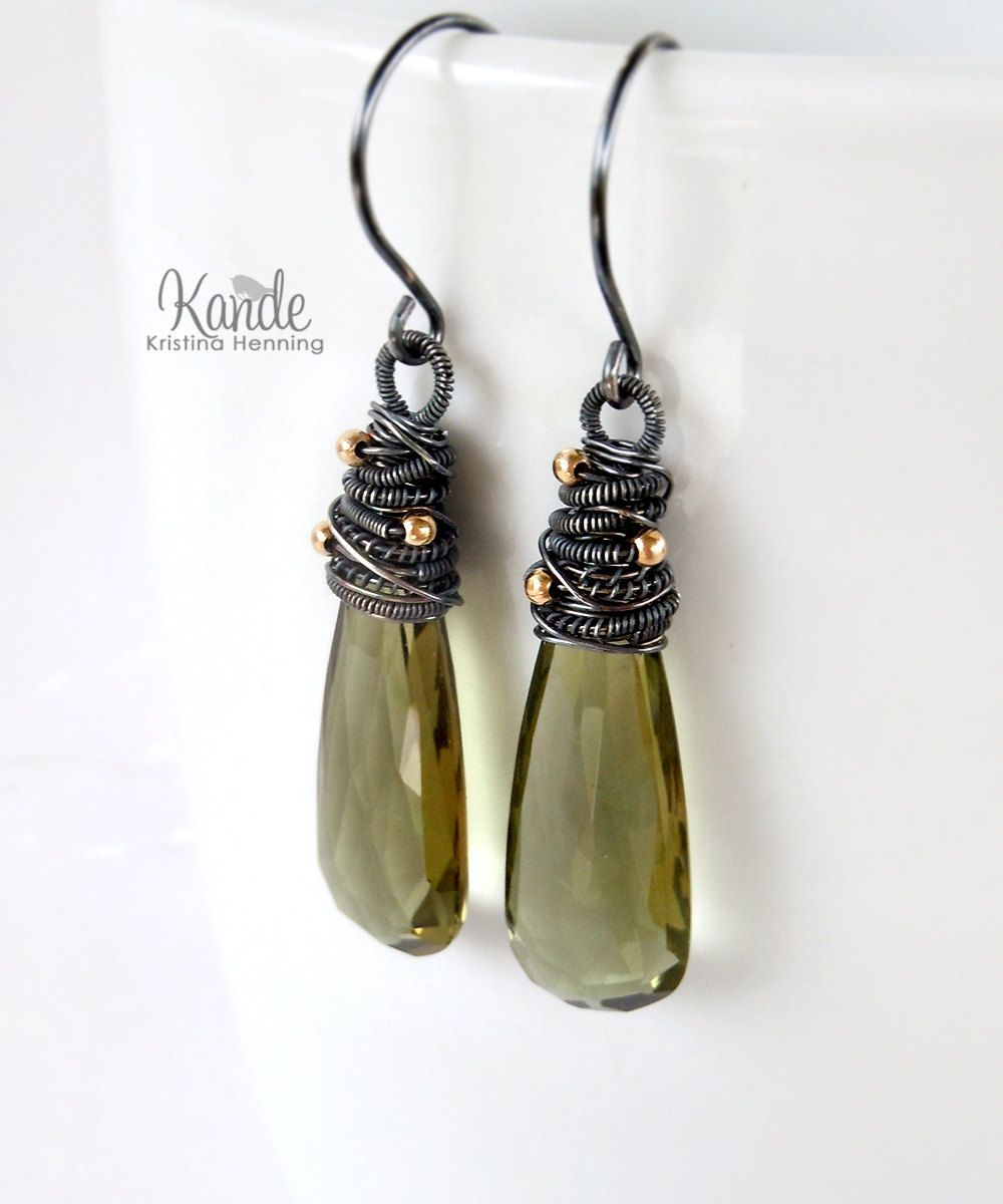 Olive Green Drop Earrings By Kande Jewelry