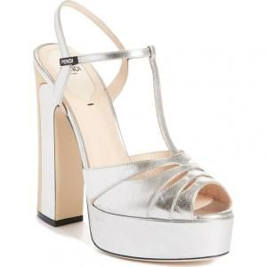 bc362d47fed Fendi Silver Duo Leather Platform Sandals - 40% Off
