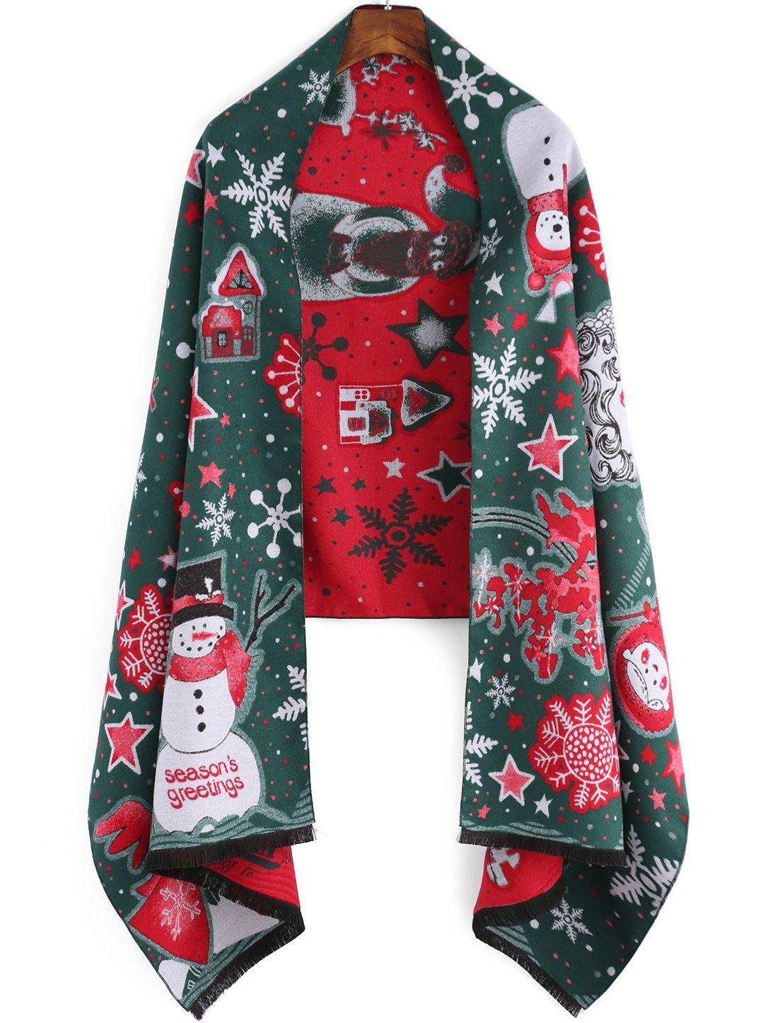 Schal mit Schneemann Druck - grün und rot 22.43