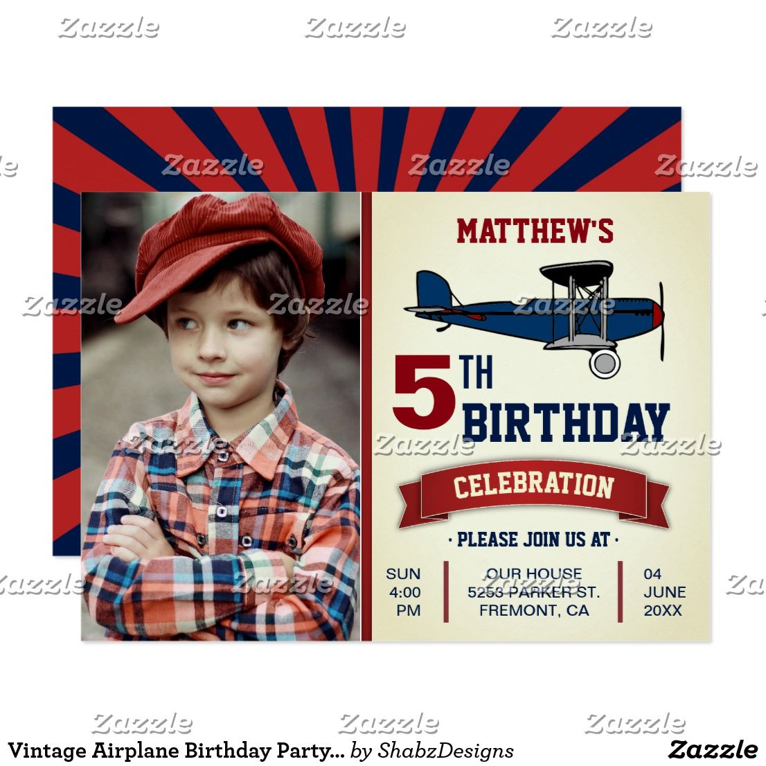 Vintage Airplane Birthday Party Photo Invitation | Vintage airplanes ...