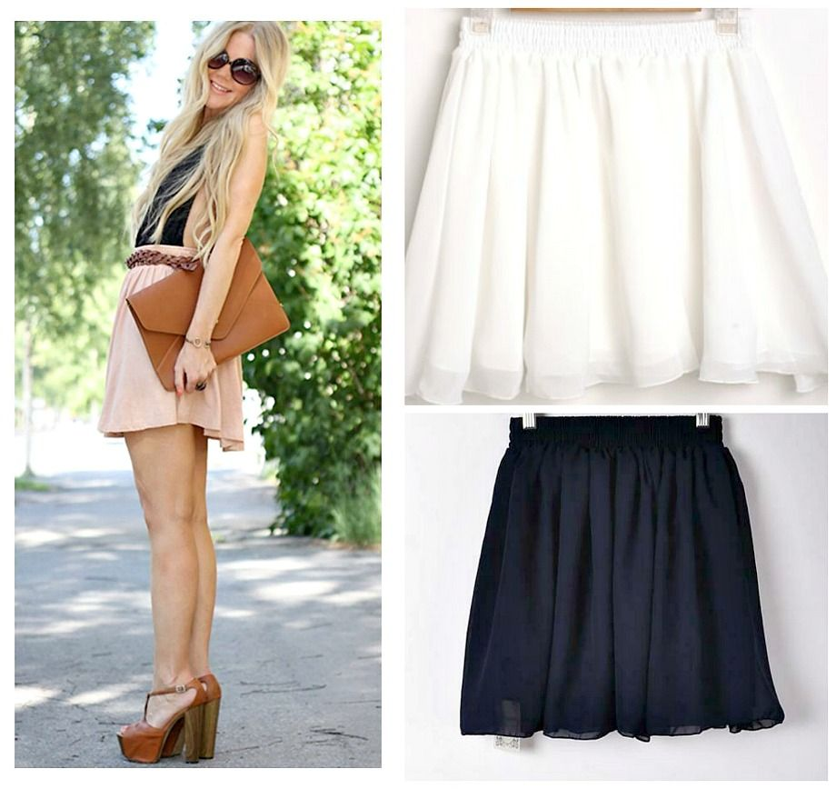 SALE WOMENS SHORT MINI CHIFFON SKIRT BOHO COWGIRL FASHION OUTFIT NAVY WHITE BLUSH