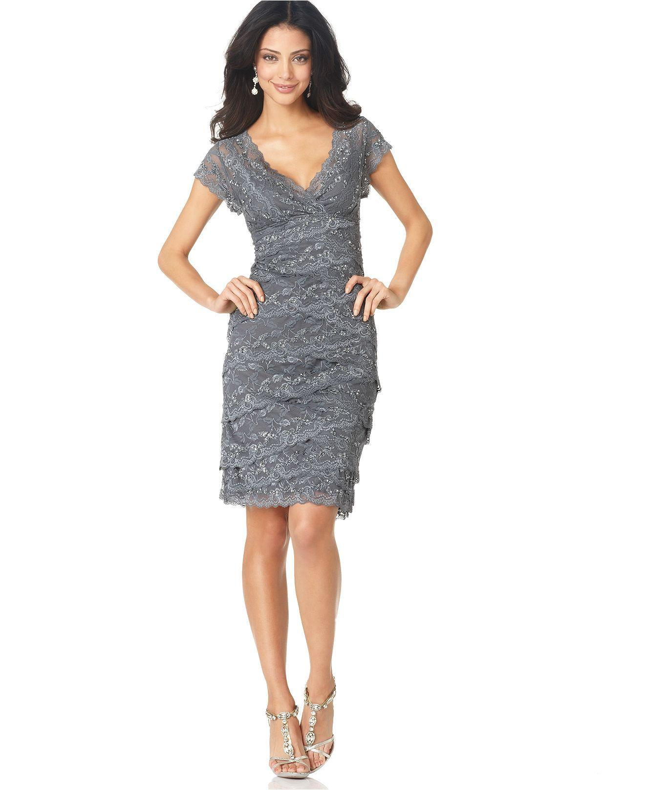Lace dress macys  Marina Dress Cap Sleeve Lace Cocktail Dress  Womens Dresses