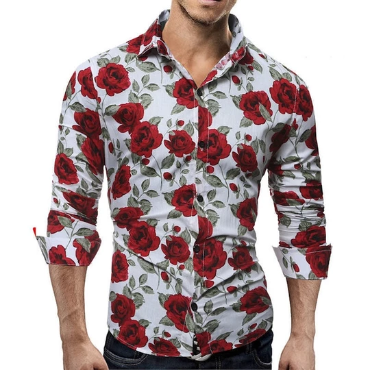 Fashion Mens Luxury Casual Stylish Slim Fit Long Sleeve Floral Dress Shirts Tops