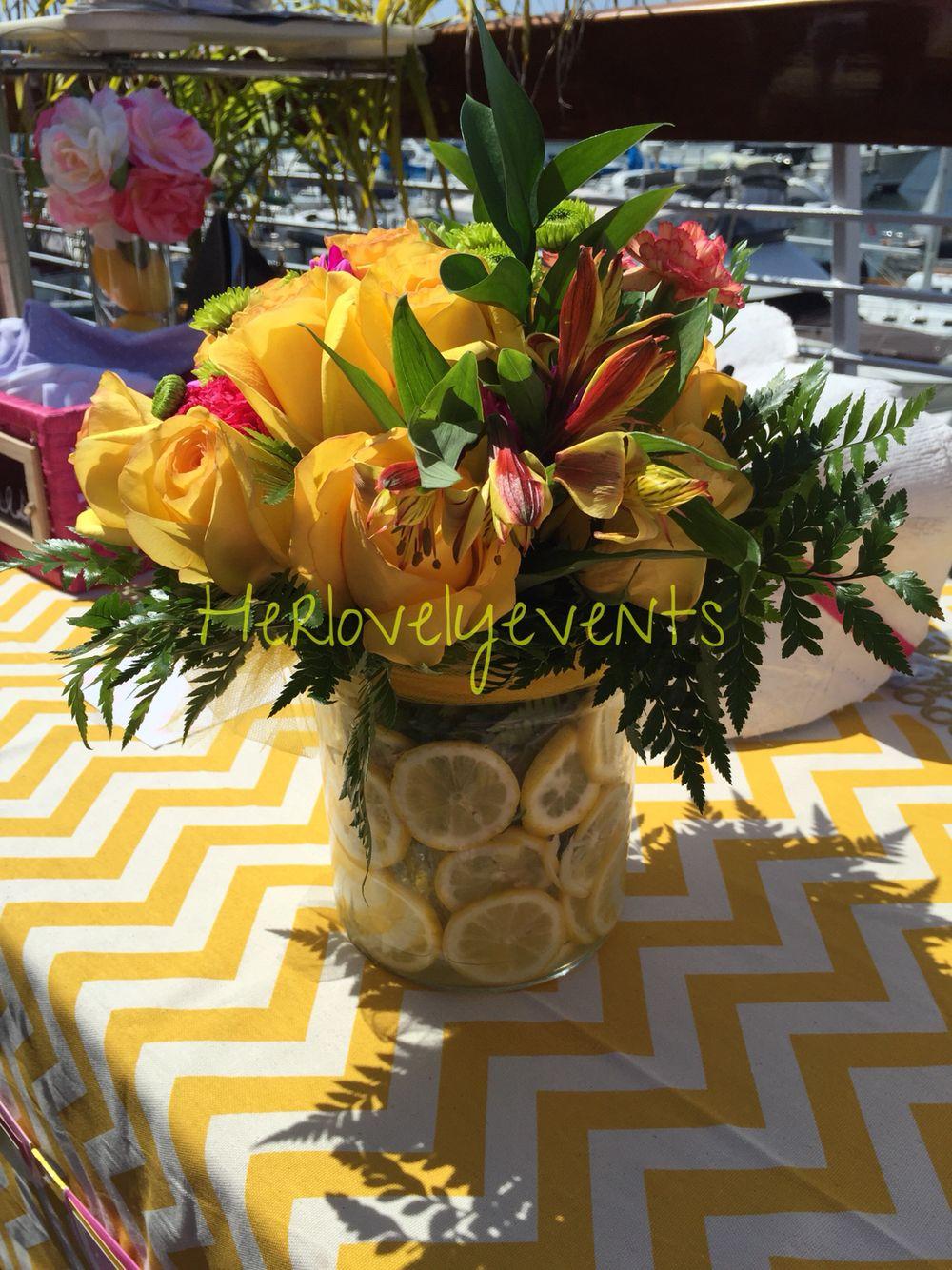 Lemon Flower Arrangement Center pieces