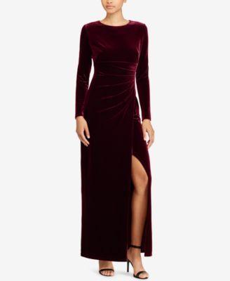 Lauren Ralph Lauren Pleated Velvet Gown  210.00 Accentuated by pleats at  the waist 5fa375e6b