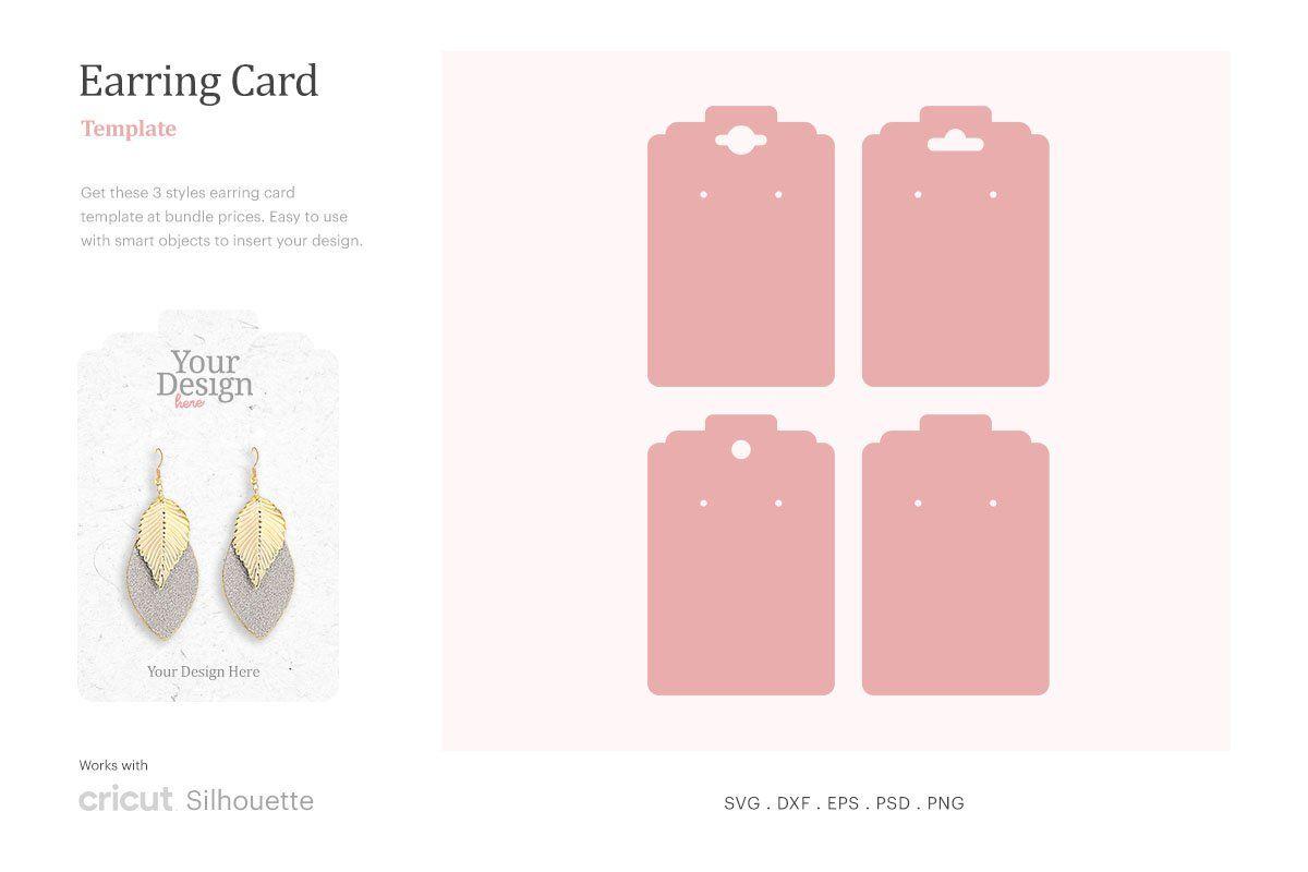 Earring Card Template Earring Display Svg Hook Earing Display Card Earring Card Svg Cricut Silhouette Earring Cards Template Display Cards Earring Display