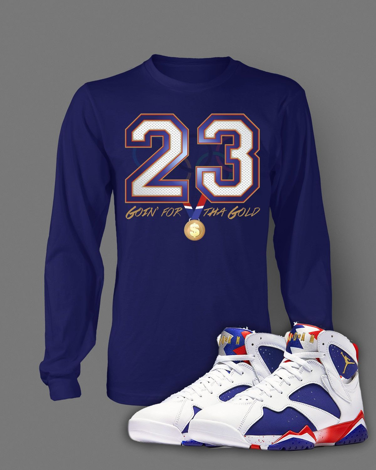 ca04cfd283c9 Long Sleeve Graphic T-Shirt To Match Retro Air Jordan 7 Olympic Shoe ...