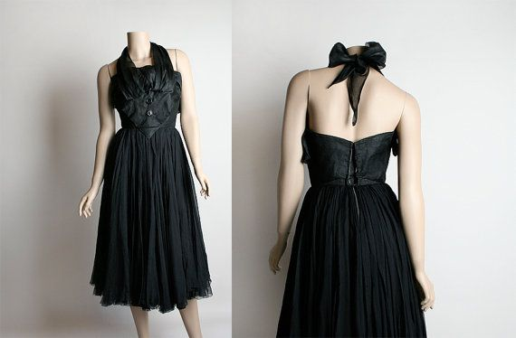 8a8e660bb9 Vintage 1950s Dress - James Galanos Black Chiffon Triple Layer Halter  Cocktail Party Evening Tuxedo Dress - Marilyn Monroe Style by zwzzy