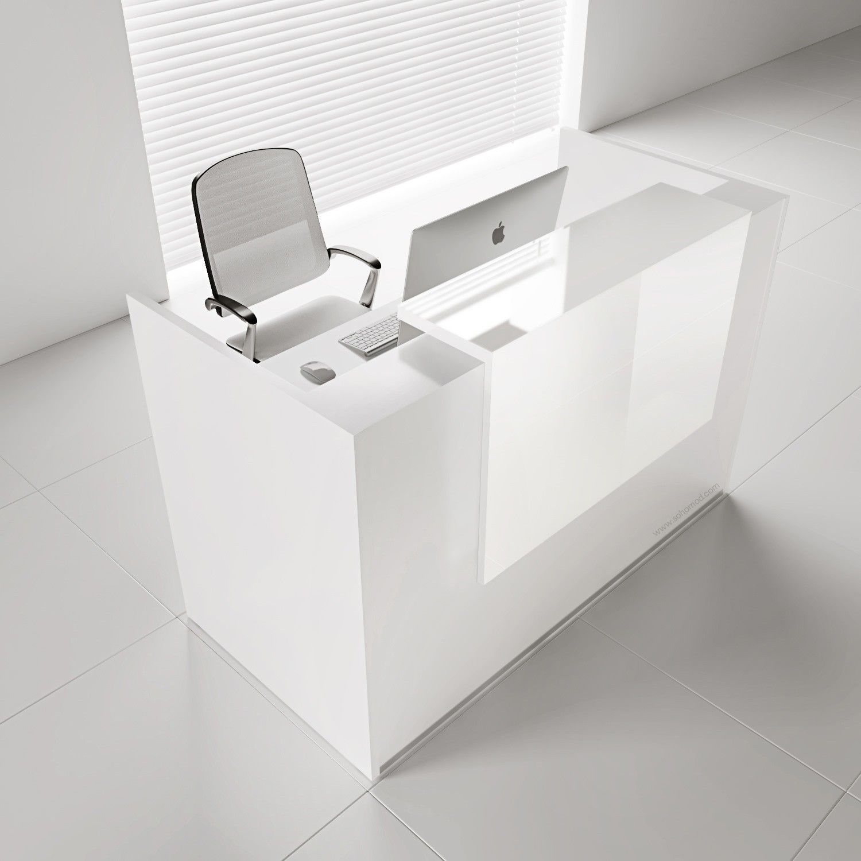Tera L Shape Medium Reception Desk W Light Panel White Pastel
