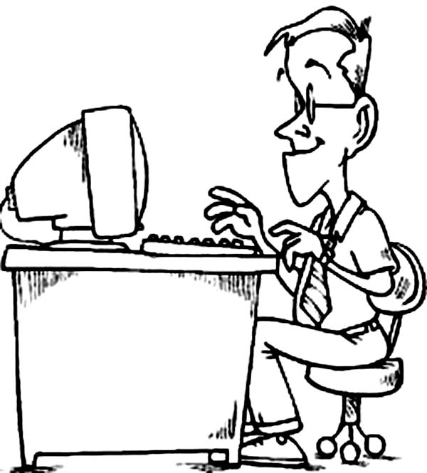 Daddy Working With Computer Coloring Page Coloring Sun