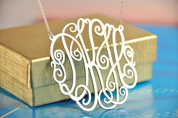 "sterling silver monogram 2"" diameter......if you're gonna do it, do it big"