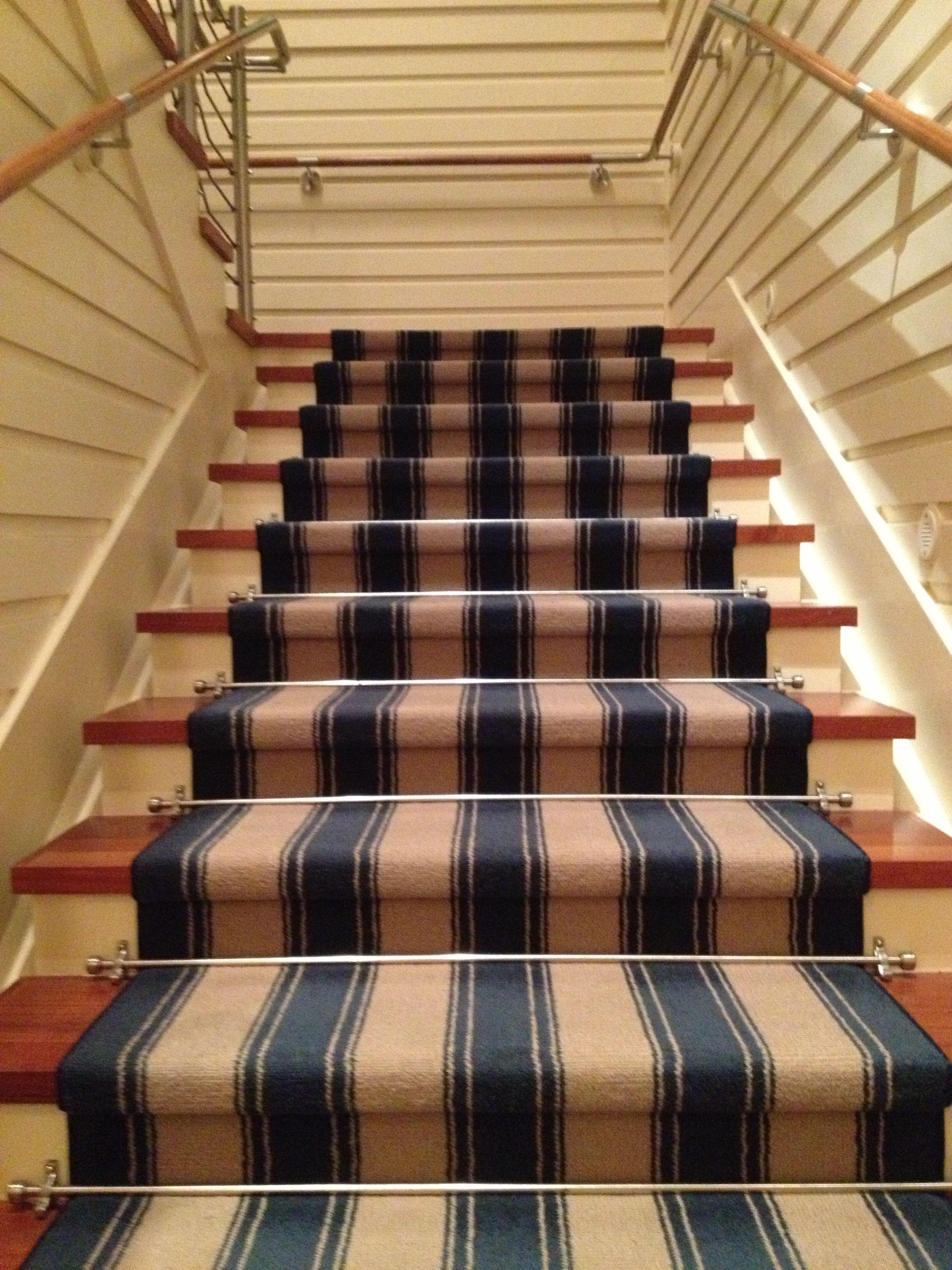 Best Navy And Cream Stripe Stair Runner Carpet Stairs 400 x 300