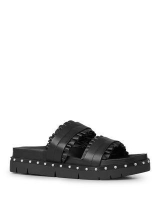 ALLSAINTS Alanna Ruffle Studded Slide Sandals. #allsaints #shoes #sandals