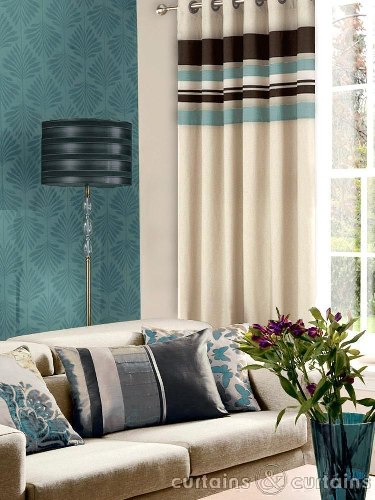 Brown and blue fabric blue duck egg blue sky navy for Modern living room curtains uk