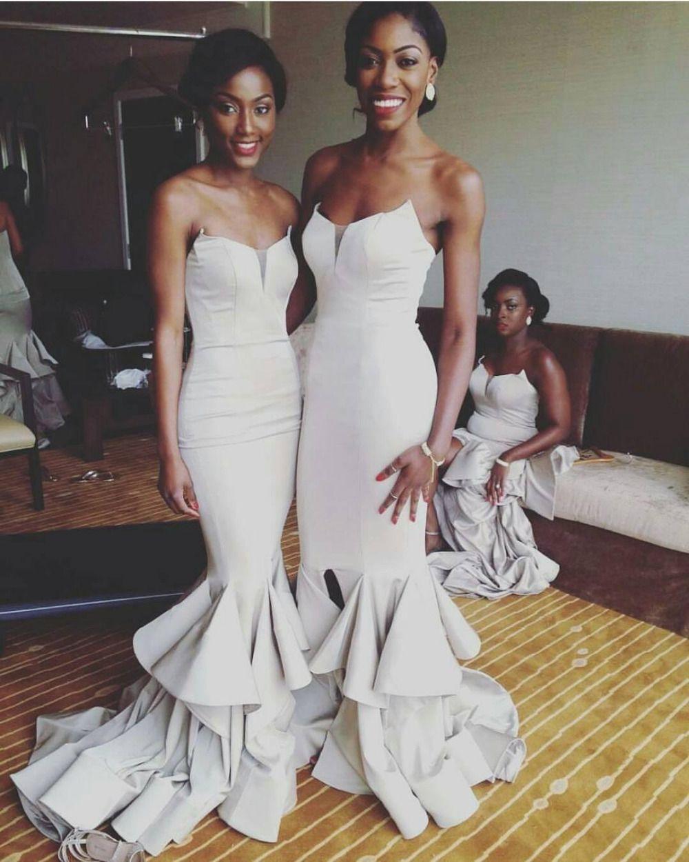 New charming mermaid bridesmaid dresses sexy split long elegant