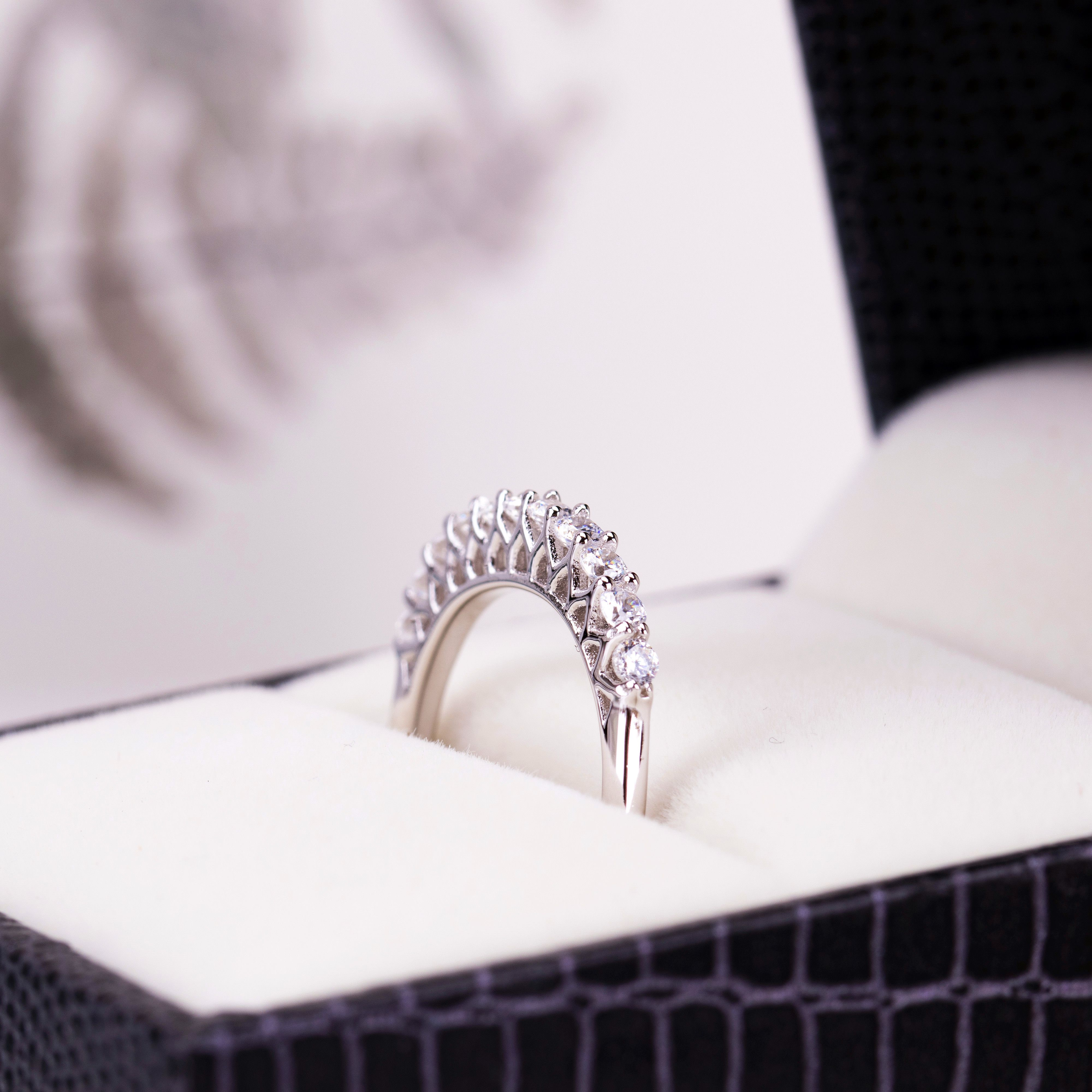 Sterling Silver Cz Eternity Rings For Women Sterling Silver Wedding Rings Silver Wedding Rings Jewelry
