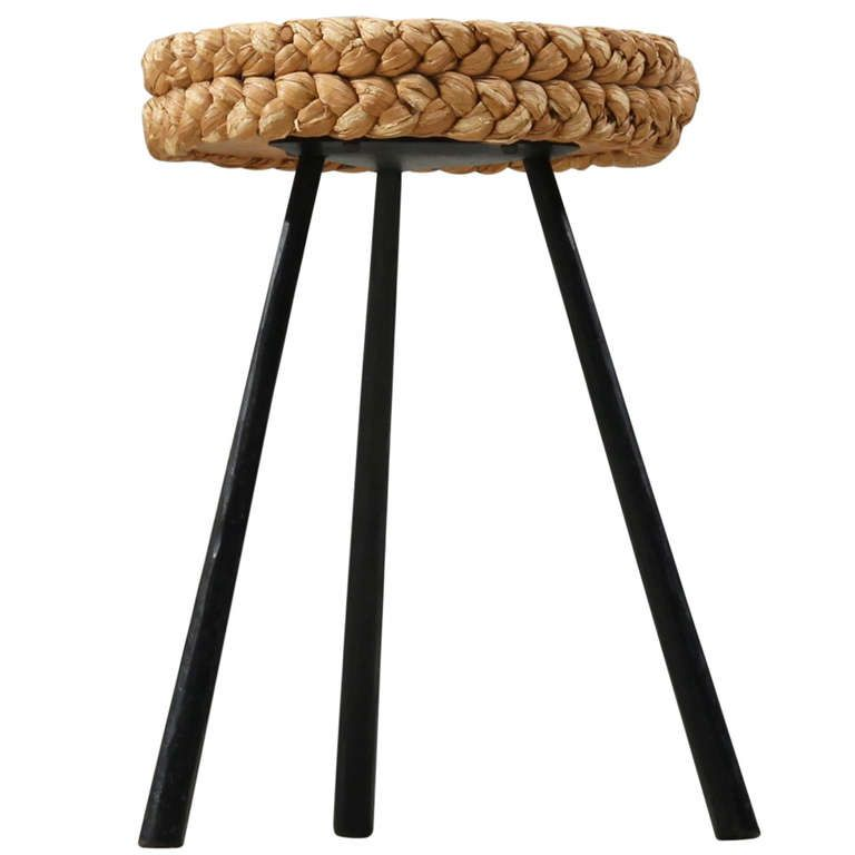 Rope Covered Tripod  Stool With Metal Legs