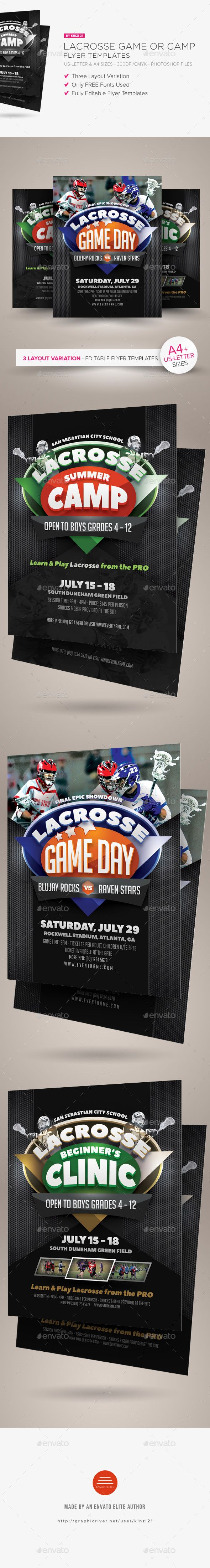 Lacrosse Game Or Camp Flyer Templates  Flyer Template Lacrosse