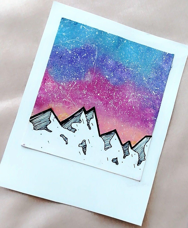 Painting Watercolour Galaxy Mountains Polaroid Mit Bildern