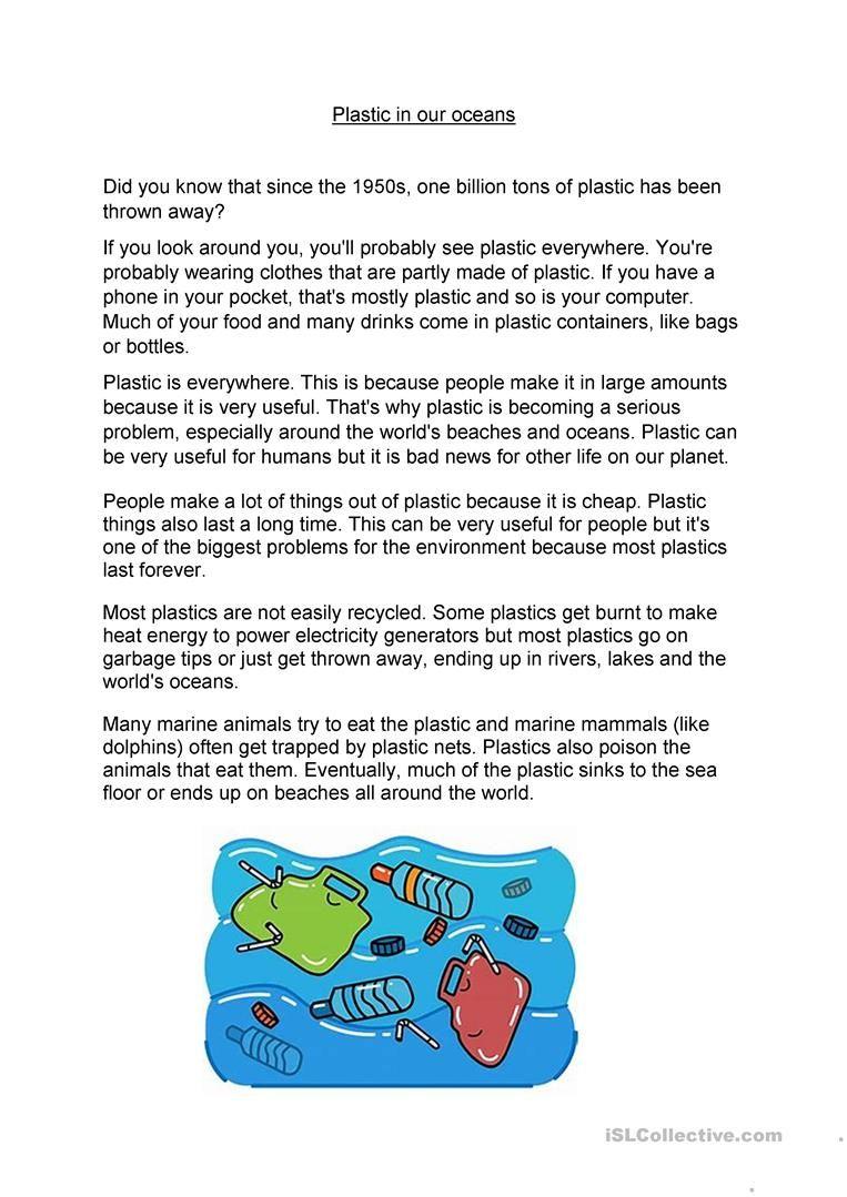Plastic In Our Oceans Worksheet Free Esl Printable Worksheets Made By Teachers Printable Worksheets Reading Activies Worksheet Template [ 1079 x 763 Pixel ]