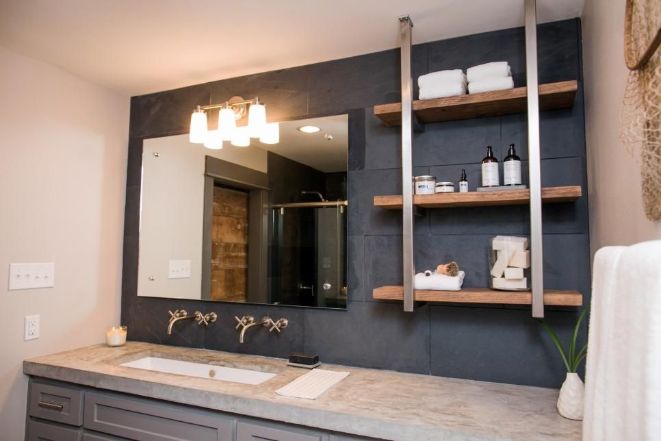 As Seen On HGTVu0027s Fixer Upper, Joannau0027s Design For This Master Bathroom  Contained A Dark, Slate Backsplash And Custom Countertops, But To Make The  Space ... Part 41